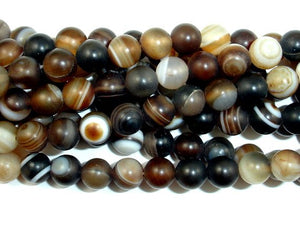 Matte Banded Agate Beads, 6mm Round Beads-BeadBasic