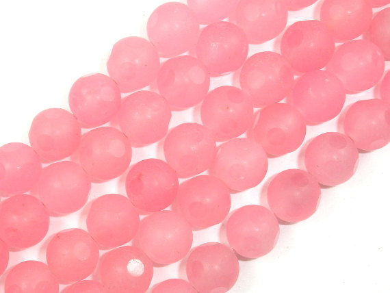 Matte Red Dyed Jade Beads, 10mm Faceted Round Beads-BeadBasic