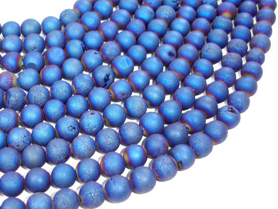 Druzy Agate Beads, Blue Geode Beads, Approx 8 mm(8.5 mm) Round Beads, 15 Inch