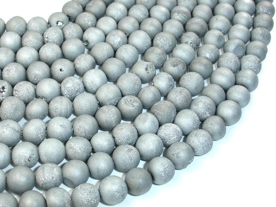Druzy Agate Beads, Silver Gray Geode Beads, 8mm Round Beads-BeadBasic