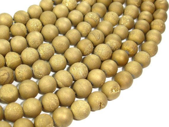 Druzy Agate Beads, Gold Geode Beads, Approx 8 mm(8.5 mm) Round Beads, 15 Inch
