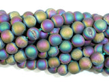 Druzy Agate Beads, Peacock Geode Beads, Approx 8 mm(8.5 mm) Round Beads, 15 Inch
