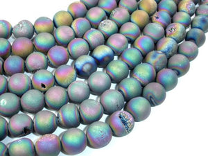 Druzy Agate Beads, Peacock Geode Beads, 10mm Round-BeadBasic
