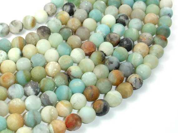 Matte Amazonite Beads, 8mm Round Beads-BeadBasic
