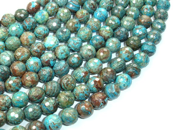 Blue Calsilica Jasper Beads, 8mm Faceted Round Beads-BeadBasic