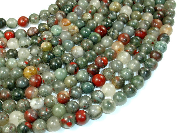 African Bloodstone, 8mm Round Beads, 15 Inch, Full strand