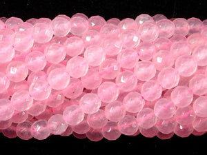 Rose Quartz, 6mm Faceted Round Beads, 15 Inch, Full strand