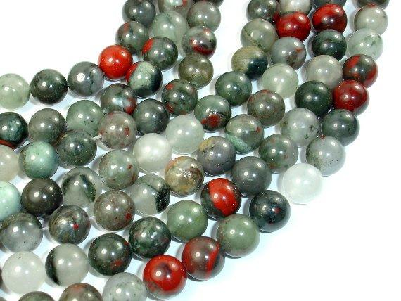 African Bloodstone, 10mm (10.4 mm) Round Beads, 15.5 Inch, Full strand