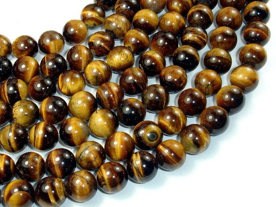 Tiger Eye, 12mm Round Beads-BeadBasic