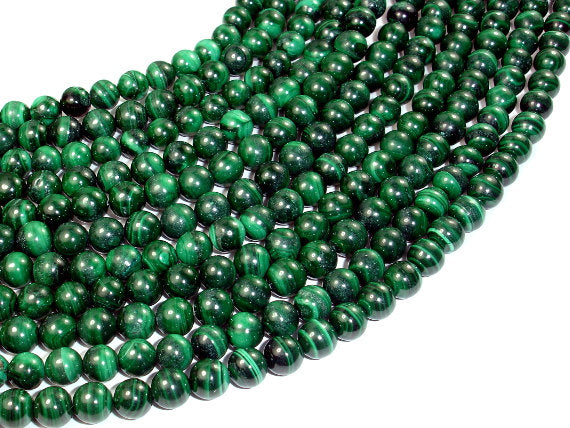 Natural Malachite, 7mm Round Green beads-BeadBasic