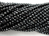 Hematite, 4mm Faceted Round Beads, 15.5 Inch, Full strand