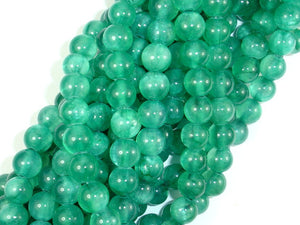 Dyed Jade- Green, 8mm Round Beads, 15.5 Inch, Full strand