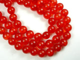 Dyed Jade-Orange Red, 10mm Round Beads-BeadBasic