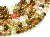 Fire Cherry Quartz, 10mm x 14mm Faceted Rondelle Beads-BeadBasic