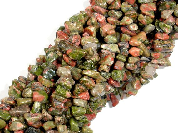 Unakite, 3-7mm Chips Beads, 35 Inch, Long full strand