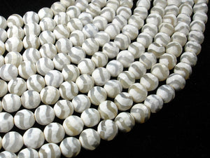 Tibetan Agate Beads, 8mm Faceted Round-BeadBasic