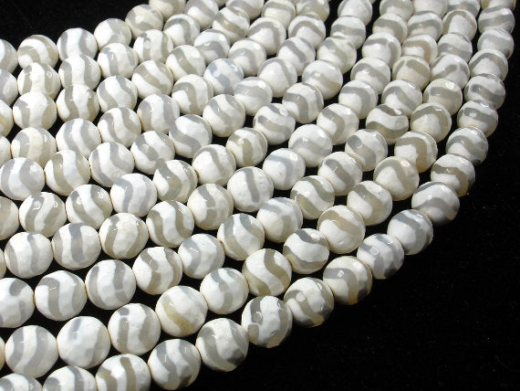 Tibetan Agate Beads, 8mm Faceted Round, 15.5 Inch, Full strand
