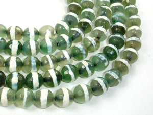 Tibetan Agate Beads, 10mm Faceted Round-BeadBasic