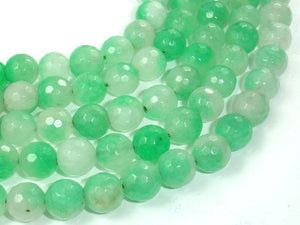Dyed Jade Beads, Green, 10mm (9.5 mm), Faceted Round