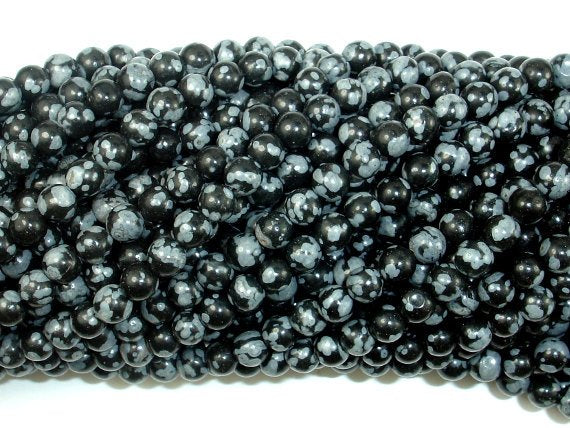Snowflake Obsidian Beads, 4mm (4.6 mm) Round Beads-BeadBasic