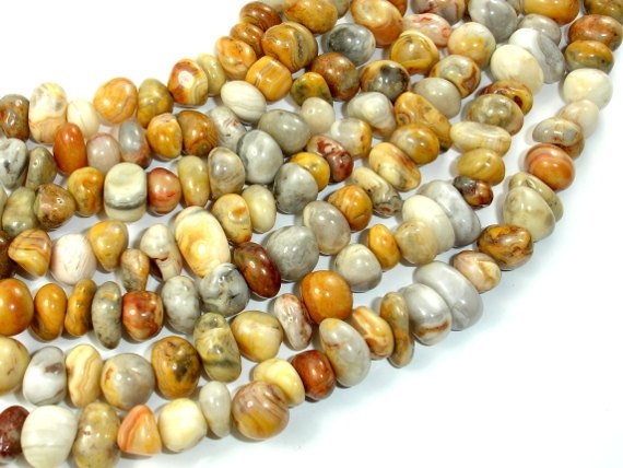 Crazy Lace Agate Beads,Approx (8-9)mm x (9-12)mm Pebble Nugget Beads, 15.5 Inch, Full strand