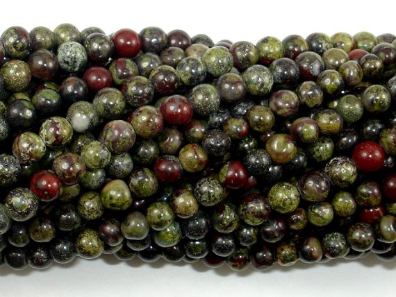 Dragon Blood Jasper Beads, 4mm, Round Beads-BeadBasic