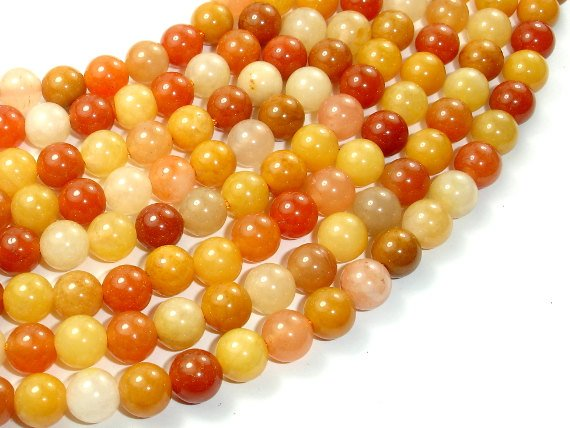 Genuine Old Yellow Jade Beads, Round, 8mm, 16 Inch