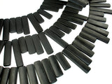 Matte Black Stone Beads, Top Drilled Rectangle, Approx 12 x 31mm-12 x 55mm,16 Inch
