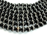 Black Onyx with Rhinestone, 8mm Round Beads, 15.5 Inch, Full strand