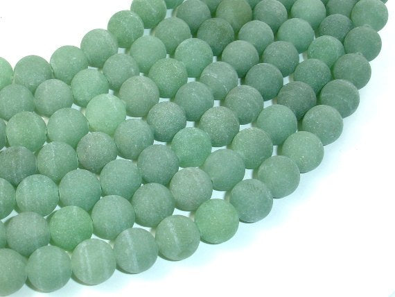 Matte Green Aventurine Beads, 10mm Round Beads-BeadBasic