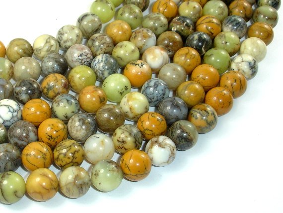 Dendritic Opal Beads, Yellow Moss Opal Beads, 10mm Round Beads-BeadBasic