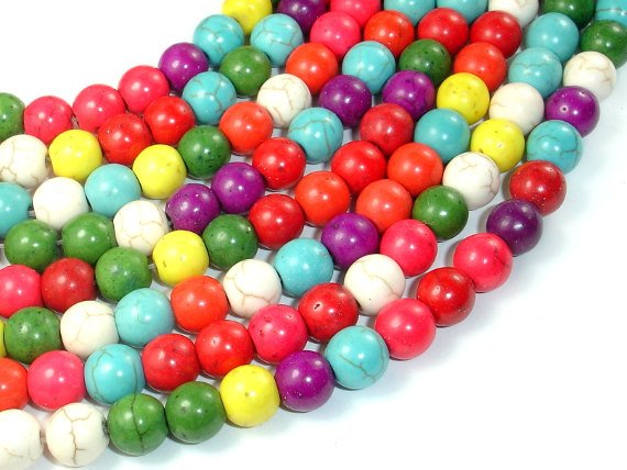 Howlite Beads, Multicolored, Round, 8mm-BeadBasic