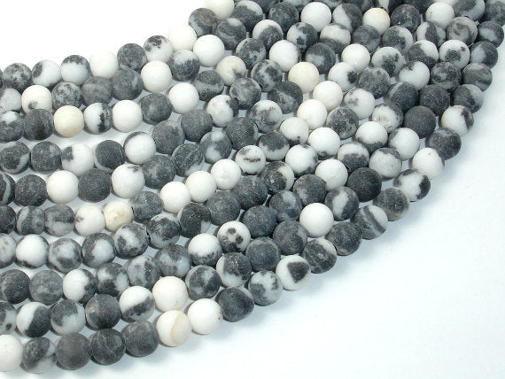 Matte Zebra Jasper Beads, 6mm Round Beads-BeadBasic
