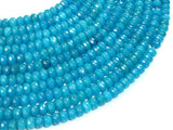 Blue Jade Beads, Approx 4mm x 6mm Faceted Rondelle , 15 Inch, Full strand