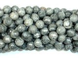 Gray Picture Jasper Beads, 8mm Faceted Round Beads-BeadBasic