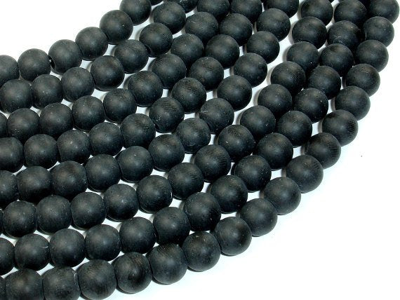 Matte Black Stone, 8mm (8.2mm) Round Beads, 15 Inch, Full strand