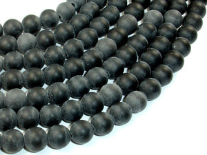 Matte Black Stone, 10mm Round Beads-BeadBasic