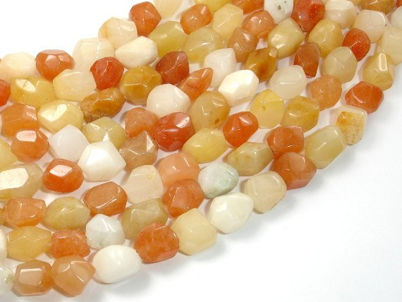 Old Yellow Jade, Faceted Nugget Beads-BeadBasic