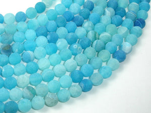 Frosted Matte Agate - Sea Blue, 8mm Round Beads, 15 Inch, Full strand