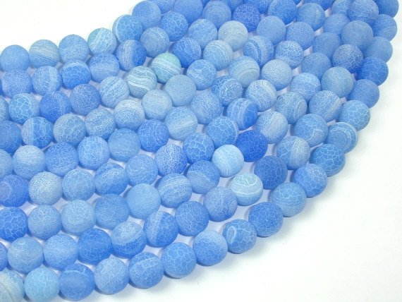 Frosted Matte Agate - Blue, 8mm Round Beads, 15 Inch, Full strand