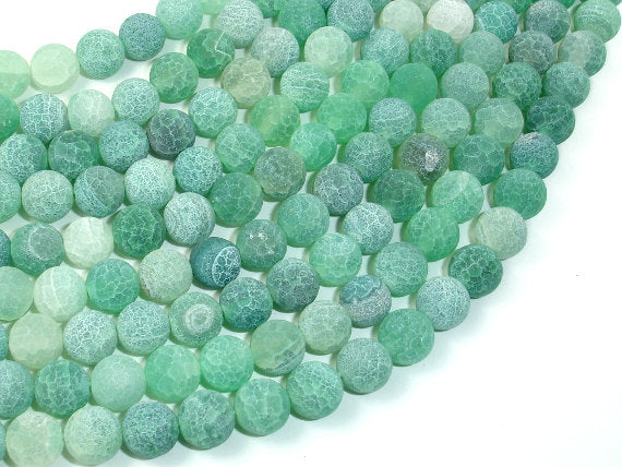 Frosted Matte Agate - Green, 8mm Round Beads, 15 Inch, Full strand-BeadBasic