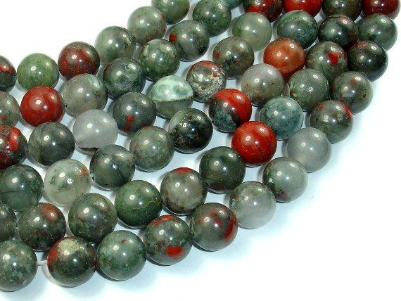 African Bloodstone, 12mm (12.4 mm) Round Beads, 15.5 Inch, Full strand