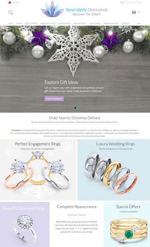 Serendipity Diamonds Web Design
