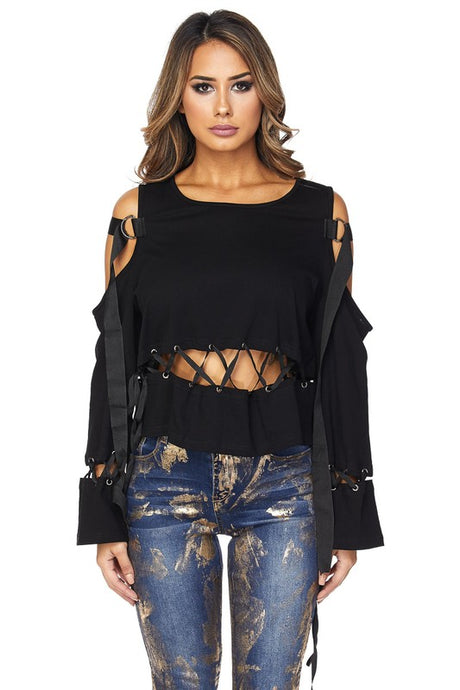 Laced Cut Out Top