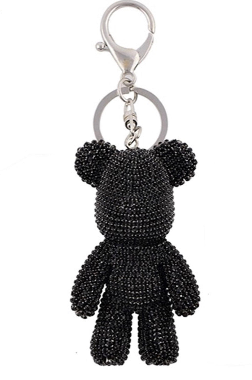 Black Crystal Teddy Keychain
