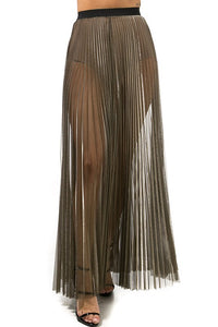 Metallic Sheer Pleated Maxi Skirt