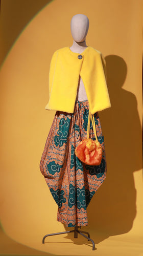 Yellow Faux Fur Caplet + African Print Harem Pants - JUNNY.NYC