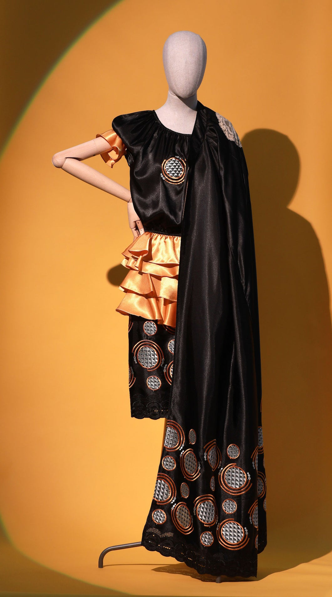 Black and Gold Cropped Chinoiserie  Cold Shoulder Top +  Gold Ruffle Chinoiserie Skirt - JUNNY.NYC
