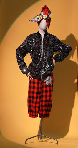 Starry Night Sequin Bomber Jacket + Red Maasai Breeches - JUNNY.NYC