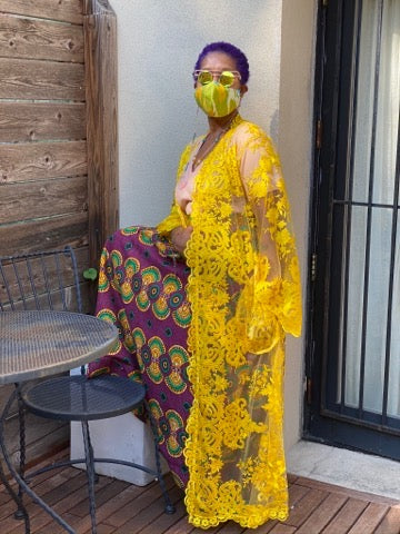 Yellow Lace Caftan - JUNNY.NYC